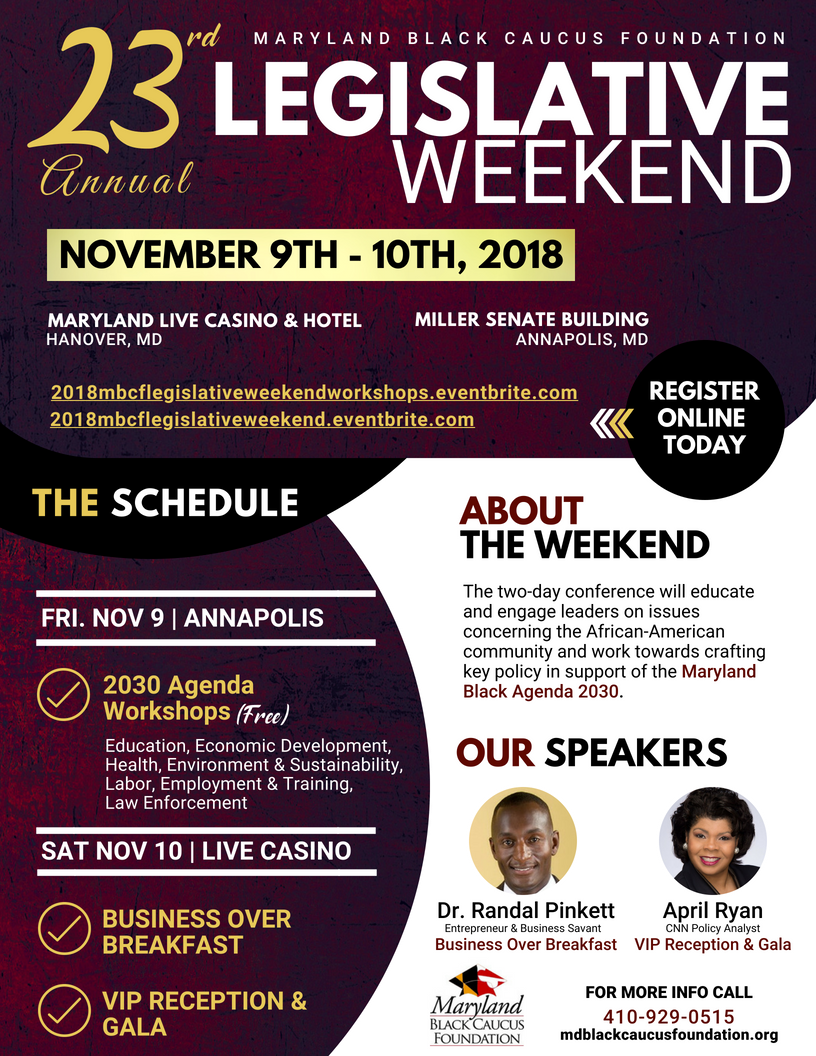 Maryland Black Caucus Foundation Legislative Weekend Schedule